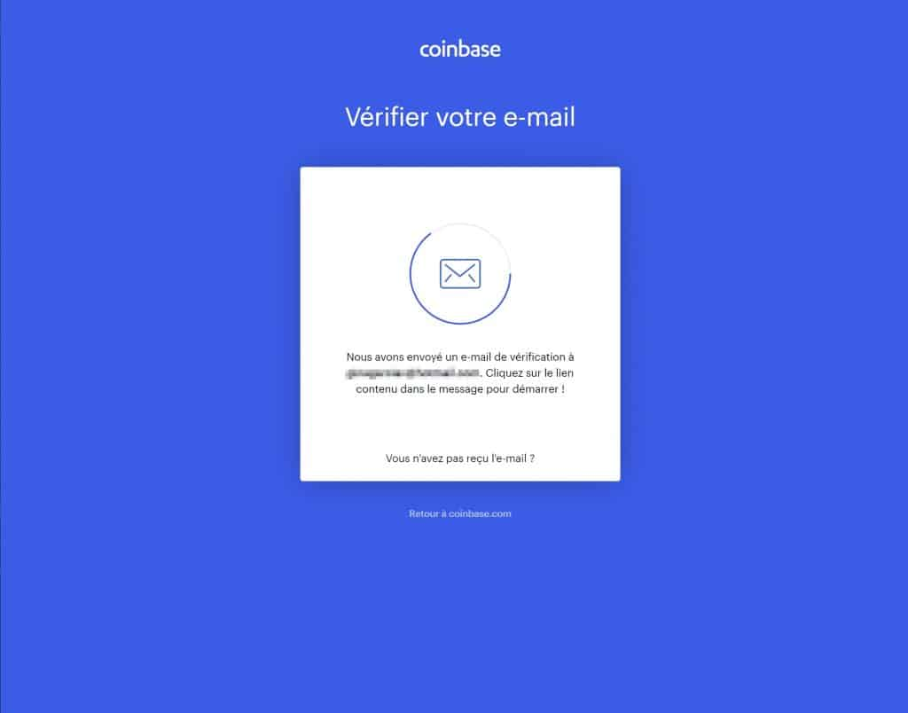 Confirmation email Coinbase